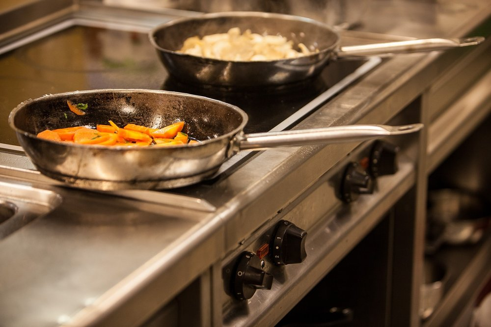 two frying pans on a stove