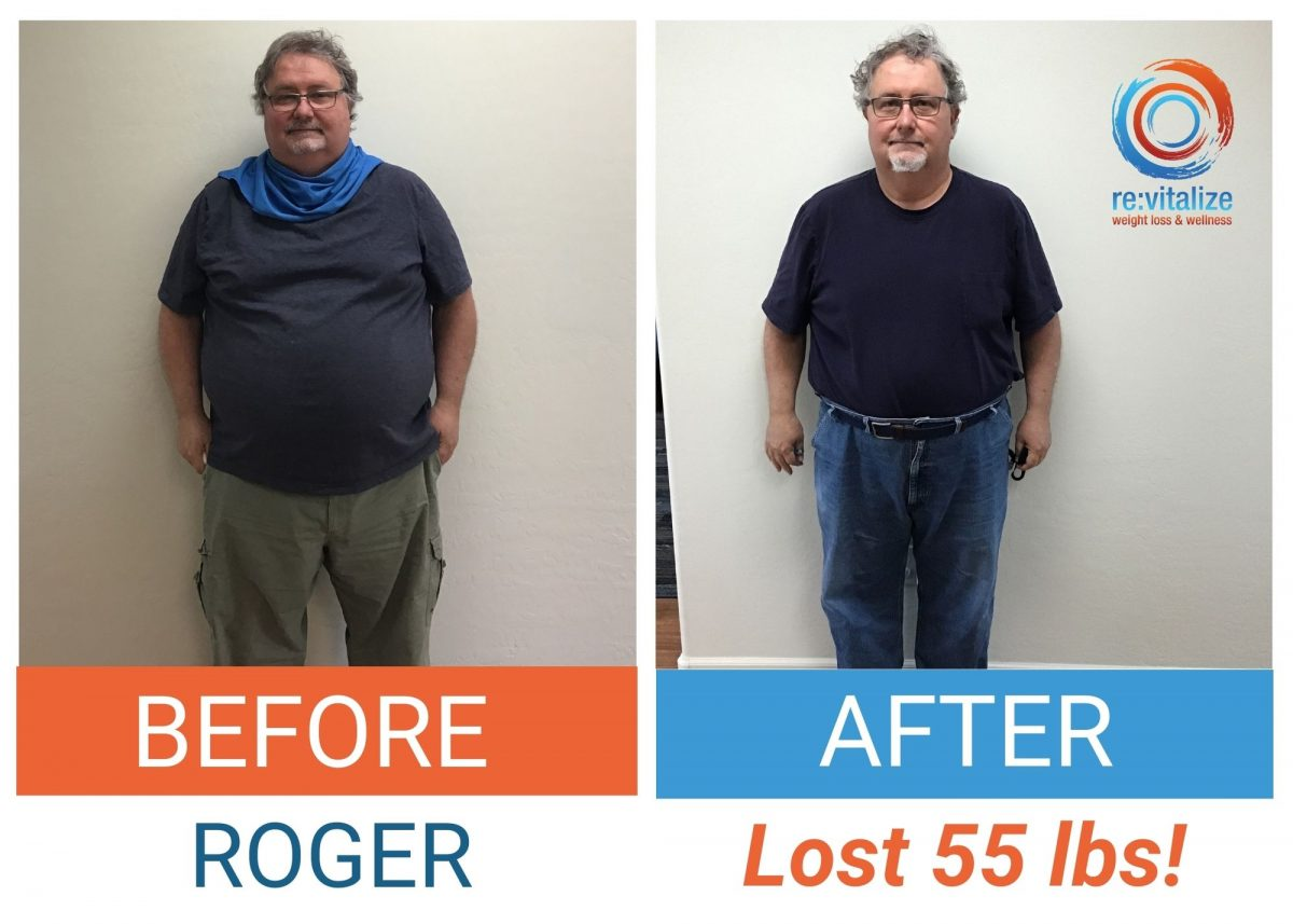 Before and after photo of Roger losing 55 pounds. In the left photo he is wearing a dark shirt and cargo pants and in the right photo he is weaing a dark shirt and jeans with a belt.